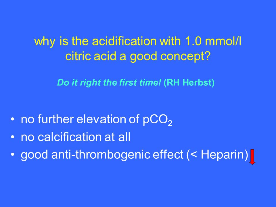 why is the acidification with 1.0 mmol/l citric acid a good concept.