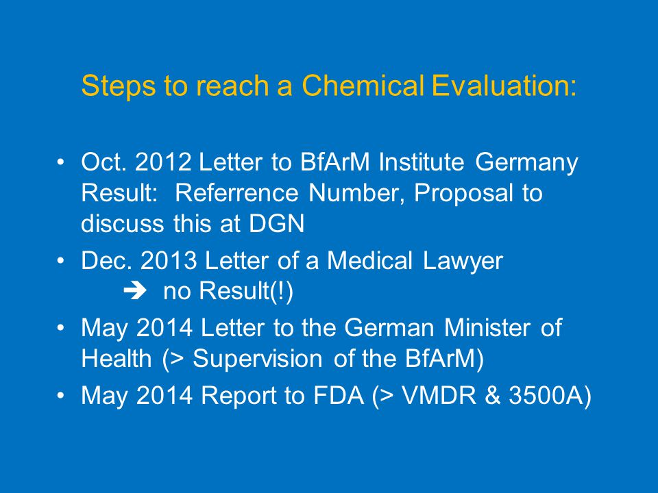 Steps to reach a Chemical Evaluation: Oct.