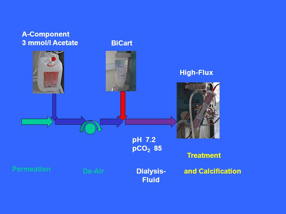 A-Component 3 mmol/l Acetate BiCart Permeation De-AirDialysis- Fluid pH 7.2 pCO 2 85 High-Flux Treatment and Calcification