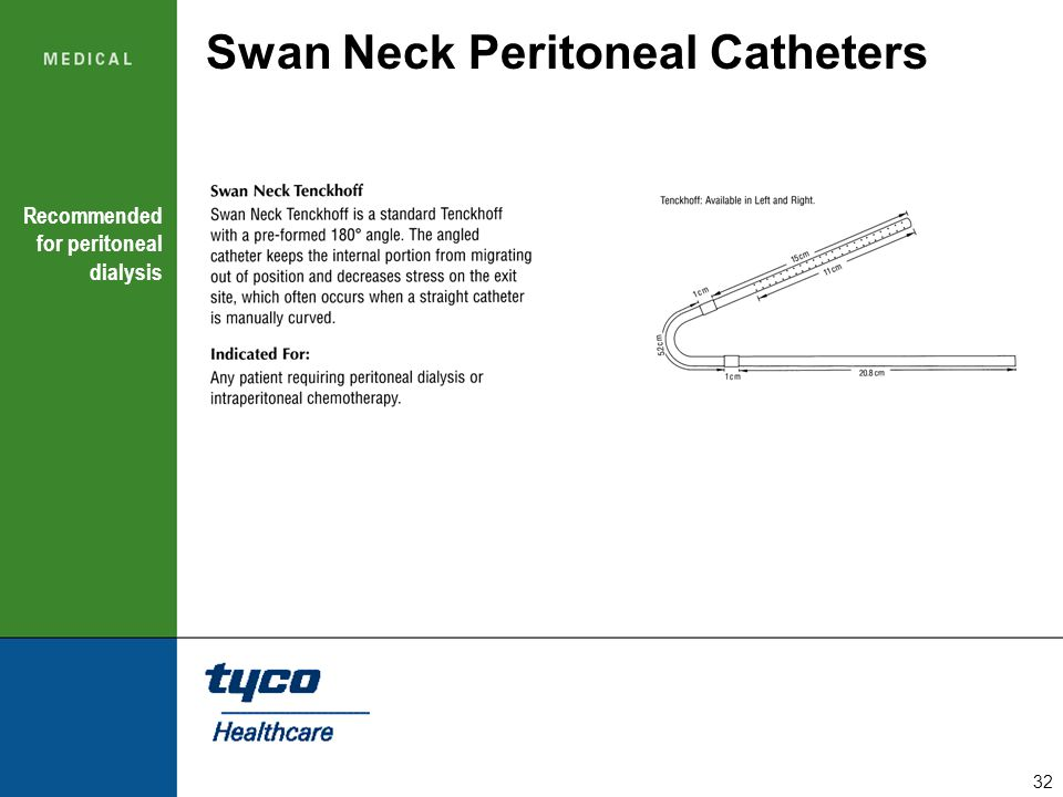 32 Swan Neck Peritoneal Catheters Recommended for peritoneal dialysis