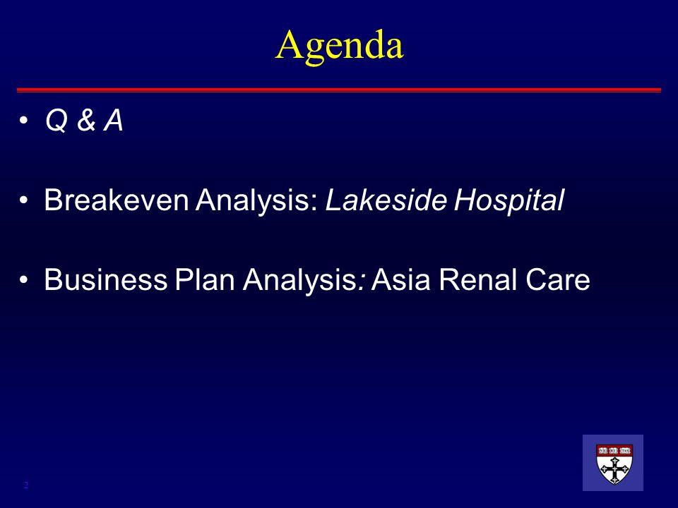 2 Agenda Q & A Breakeven Analysis: Lakeside Hospital Business Plan Analysis: Asia Renal Care