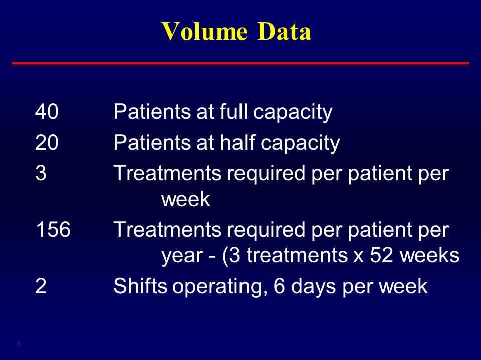 8 Volume Data 40Patients at full capacity 20Patients at half capacity 3Treatments required per patient per week 156Treatments required per patient per year - (3 treatments x 52 weeks 2Shifts operating, 6 days per week