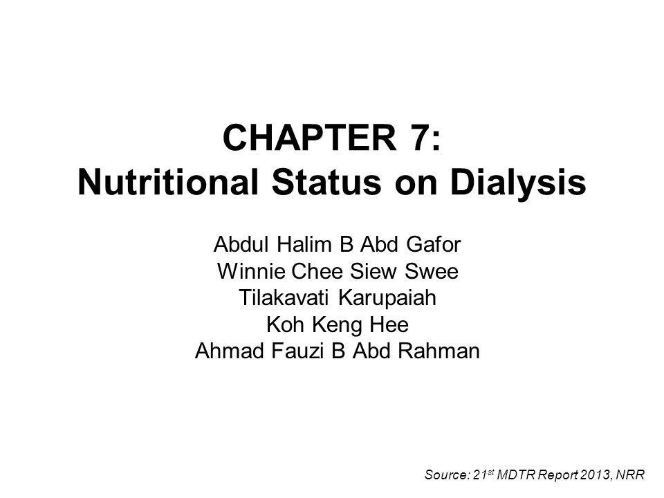 CHAPTER 7: Nutritional Status on Dialysis Abdul Halim B Abd Gafor Winnie Chee Siew Swee Tilakavati Karupaiah Koh Keng Hee Ahmad Fauzi B Abd Rahman Source: 21 st MDTR Report 2013, NRR