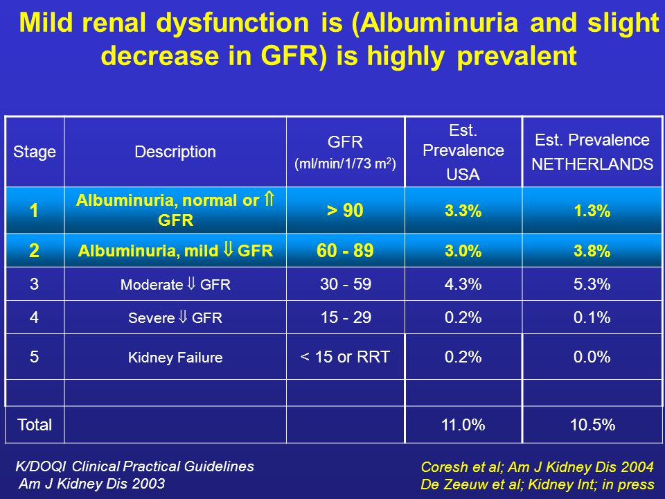 Mild renal dysfunction is (Albuminuria and slight decrease in GFR) is highly prevalent StageDescription GFR (ml/min/1/73 m 2 ) Est.