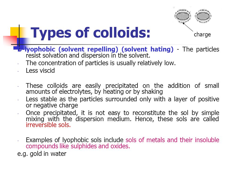 Types of colloids: B-lyophobic (solvent repelling) (solvent hating) - The particles resist solvation and dispersion in the solvent. - The concentratio