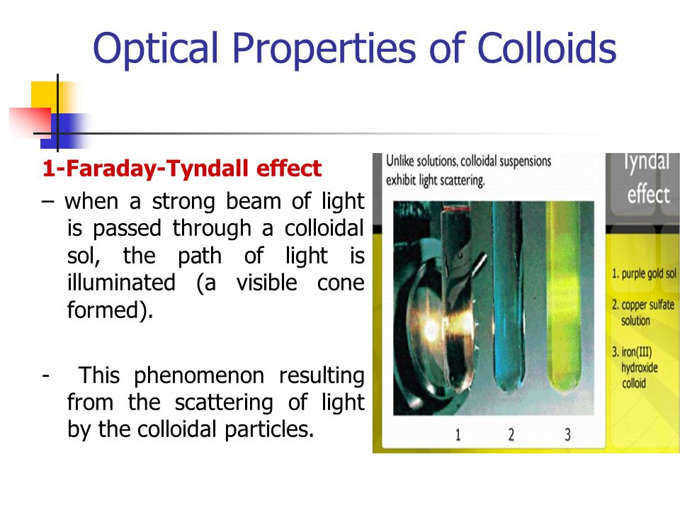 Optical Properties of Colloids 1-Faraday-Tyndall effect – when a strong beam of light is passed through a colloidal sol, the path of light is illumina