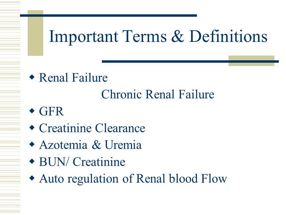 Important Terms & Definitions  Renal Failure Chronic Renal Failure  GFR  Creatinine Clearance  Azotemia & Uremia  BUN/ Creatinine  Auto regulation of Renal blood Flow