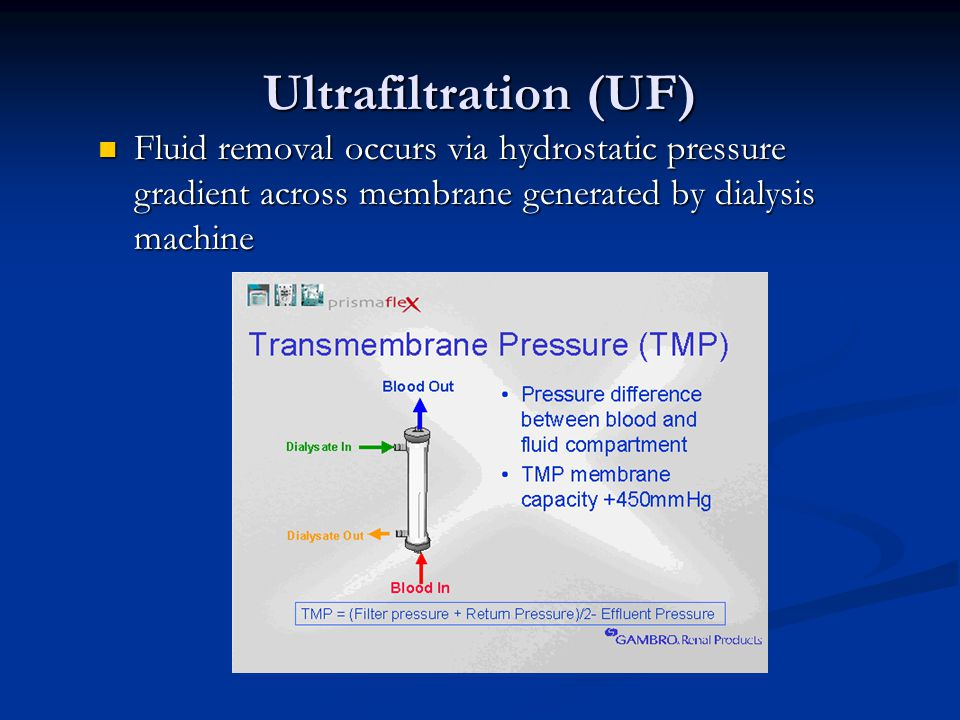 Ultrafiltration (UF) Fluid removal occurs via hydrostatic pressure gradient across membrane generated by dialysis machine Fluid removal occurs via hyd