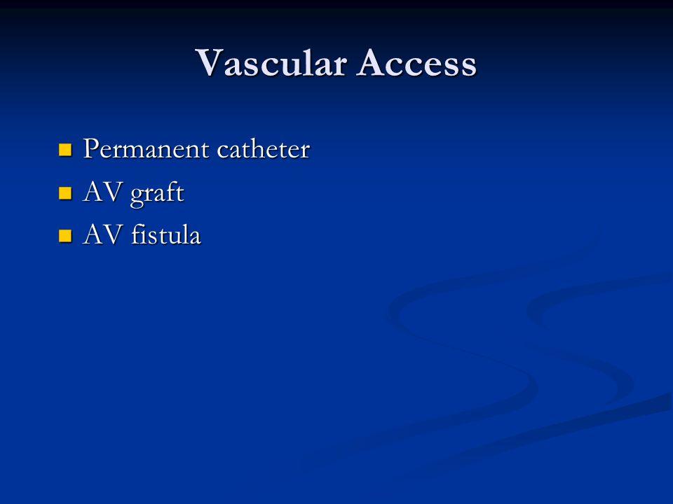Vascular Access Permanent catheter Permanent catheter AV graft AV graft AV fistula AV fistula