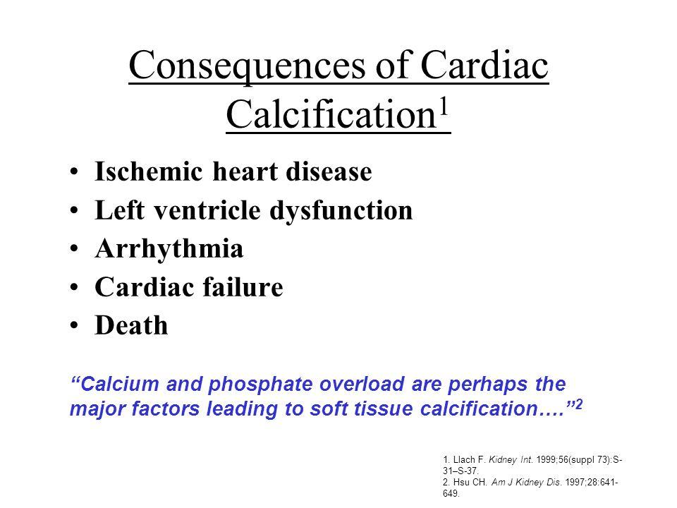 Ischemic heart disease Left ventricle dysfunction Arrhythmia Cardiac failure Death 1. Llach F. Kidney Int. 1999;56(suppl 73):S- 31–S-37. 2. Hsu CH. Am