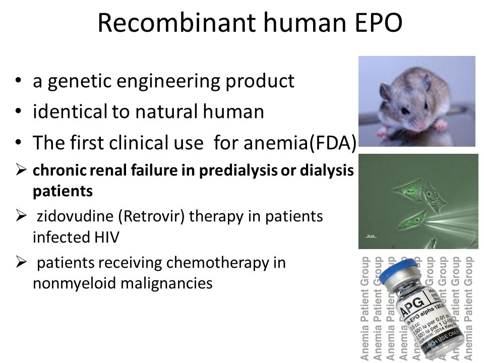 Recombinant human EPO a genetic engineering product identical to natural human The first clinical use for anemia(FDA)  chronic renal failure in predi