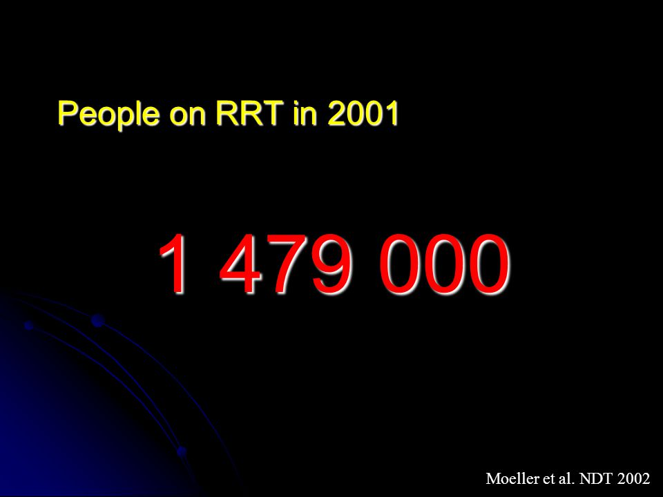 People on RRT in 2001 1 479 000 Moeller et al. NDT 2002