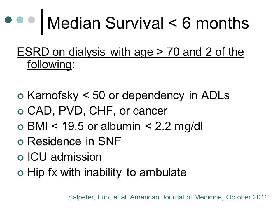 Median Survival < 6 months ESRD on dialysis with age > 70 and 2 of the following: Karnofsky < 50 or dependency in ADLs CAD, PVD, CHF, or cancer BMI < 19.5 or albumin < 2.2 mg/dl Residence in SNF ICU admission Hip fx with inability to ambulate Salpeter, Luo, et al American Journal of Medicine, October 2011