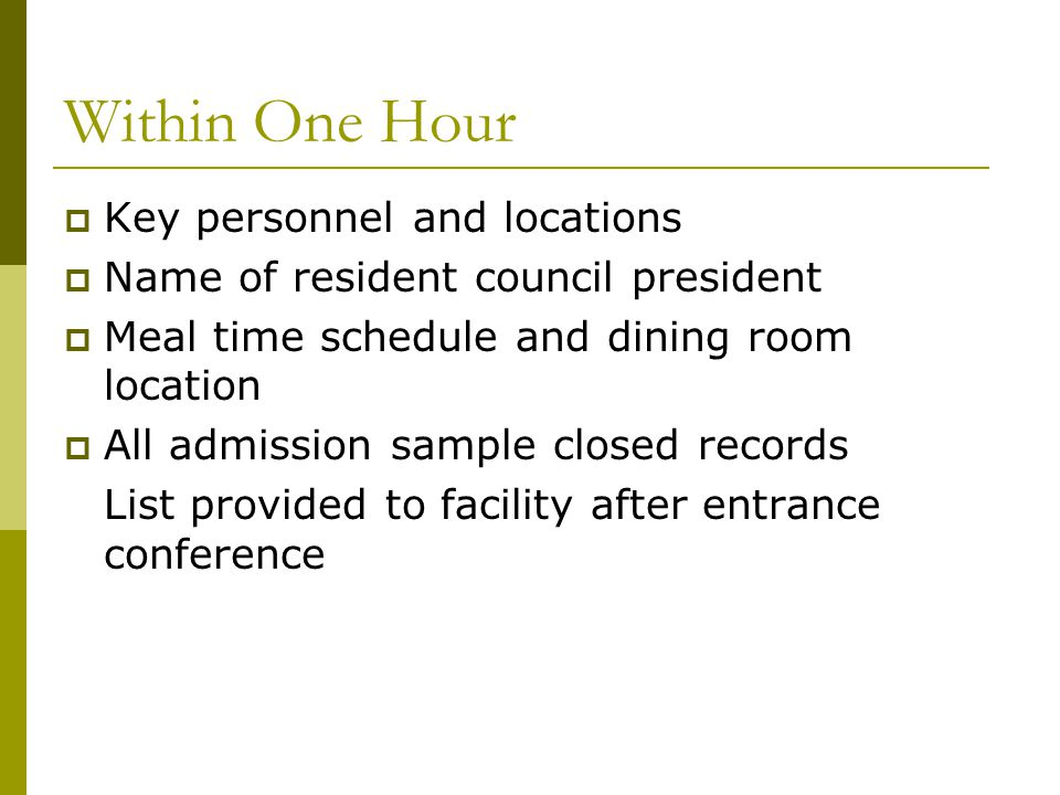 Within One Hour  Key personnel and locations  Name of resident council president  Meal time schedule and dining room location  All admission sampl