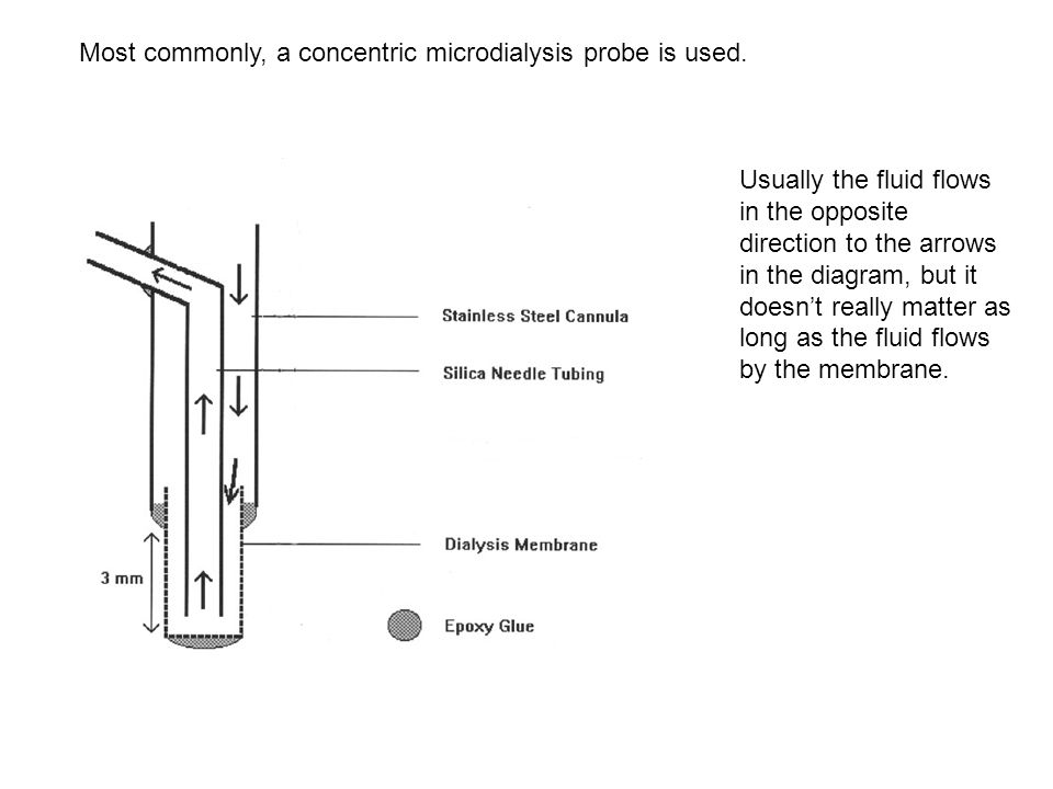 Most commonly, a concentric microdialysis probe is used. Usually the fluid flows in the opposite direction to the arrows in the diagram, but it doesn'