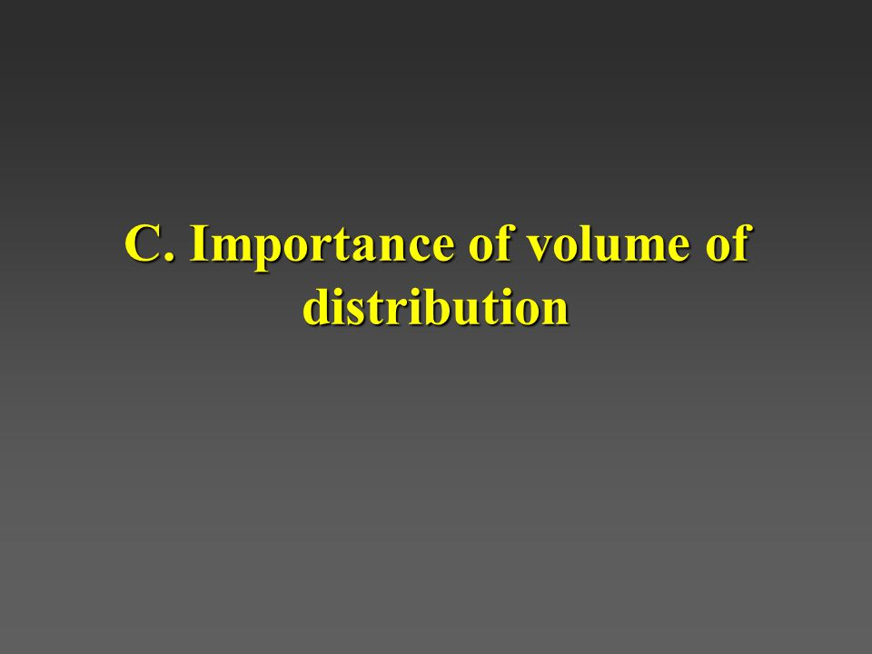 C. Importance of volume of distribution