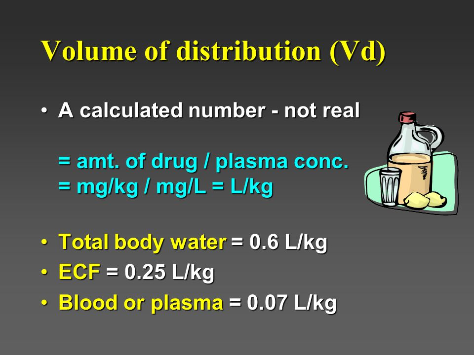 Volume of distribution (Vd) A calculated number - not real = amt.