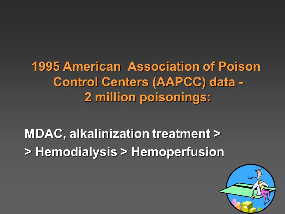 1995 American Association of Poison Control Centers (AAPCC) data - 2 million poisonings: 1995 American Association of Poison Control Centers (AAPCC) data - 2 million poisonings: MDAC, alkalinization treatment > > Hemodialysis > Hemoperfusion
