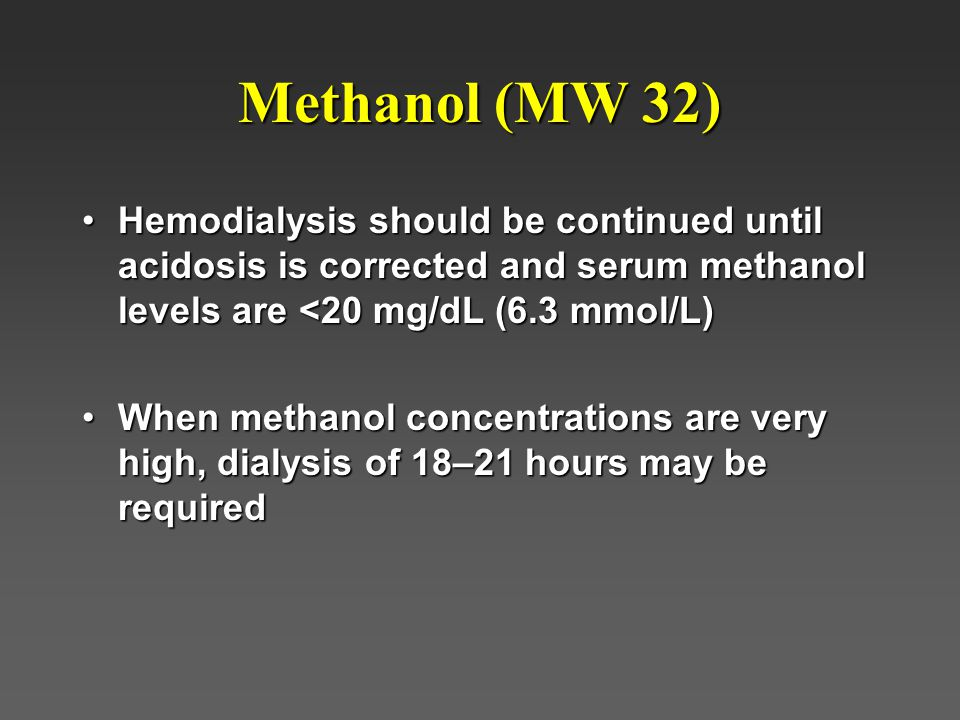 Methanol (MW 32) Hemodialysis should be continued until acidosis is corrected and serum methanol levels are <20 mg/dL (6.3 mmol/L)Hemodialysis should be continued until acidosis is corrected and serum methanol levels are <20 mg/dL (6.3 mmol/L) When methanol concentrations are very high, dialysis of 18–21 hours may be requiredWhen methanol concentrations are very high, dialysis of 18–21 hours may be required