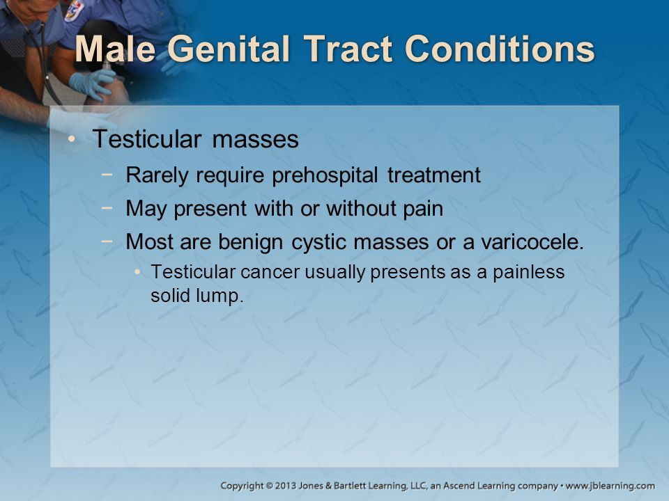 Male Genital Tract Conditions Testicular masses −Rarely require prehospital treatment −May present with or without pain −Most are benign cystic masses