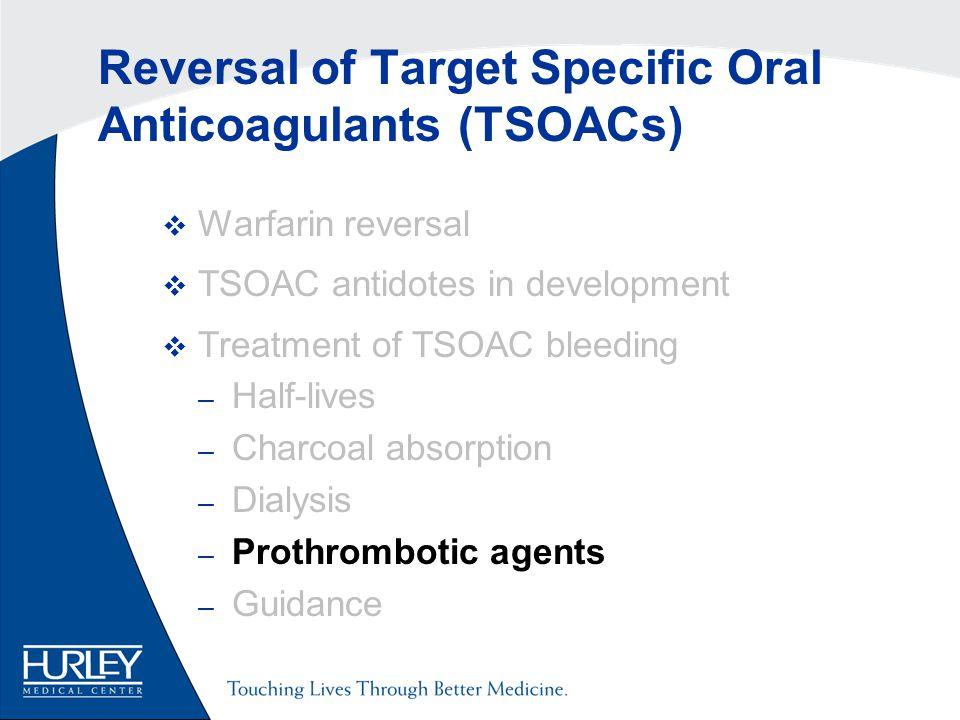 Reversal of Target Specific Oral Anticoagulants (TSOACs)  Warfarin reversal  TSOAC antidotes in development  Treatment of TSOAC bleeding – Half-lives – Charcoal absorption – Dialysis – Prothrombotic agents – Guidance