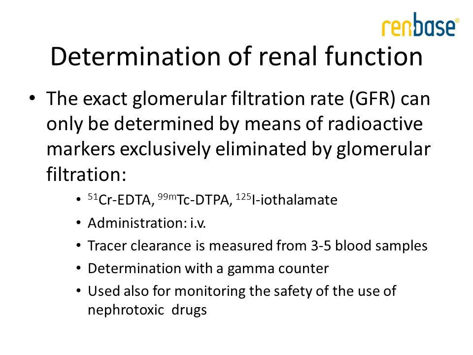 MDRD (Modification of Diet in Renal Disease) kuses a formula with four variables: GFR MDRD = 186 x [serum crea] -1.154 x [age] -0.203 For females, the coefficient is 0.742 Accurate estimate with values less than 60 ml/min Weakness: when GFR >60 ml/min or in critically ill J Am Soc Nephrol 16: 459-466, 2005