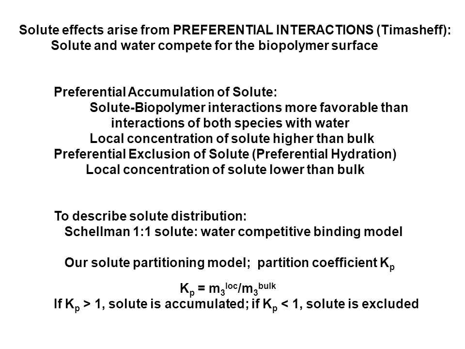 Solute effects arise from PREFERENTIAL INTERACTIONS (Timasheff): Solute and water compete for the biopolymer surface Preferential Accumulation of Solute: Solute-Biopolymer interactions more favorable than interactions of both species with water Local concentration of solute higher than bulk Preferential Exclusion of Solute (Preferential Hydration) Local concentration of solute lower than bulk To describe solute distribution: Schellman 1:1 solute: water competitive binding model Our solute partitioning model; partition coefficient K p K p = m 3 loc /m 3 bulk If K p > 1, solute is accumulated; if K p < 1, solute is excluded
