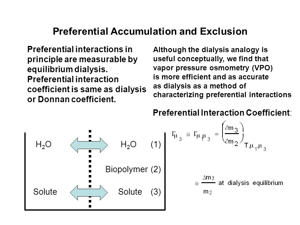 Preferential Accumulation and Exclusion Preferential interactions in principle are measurable by equilibrium dialysis.