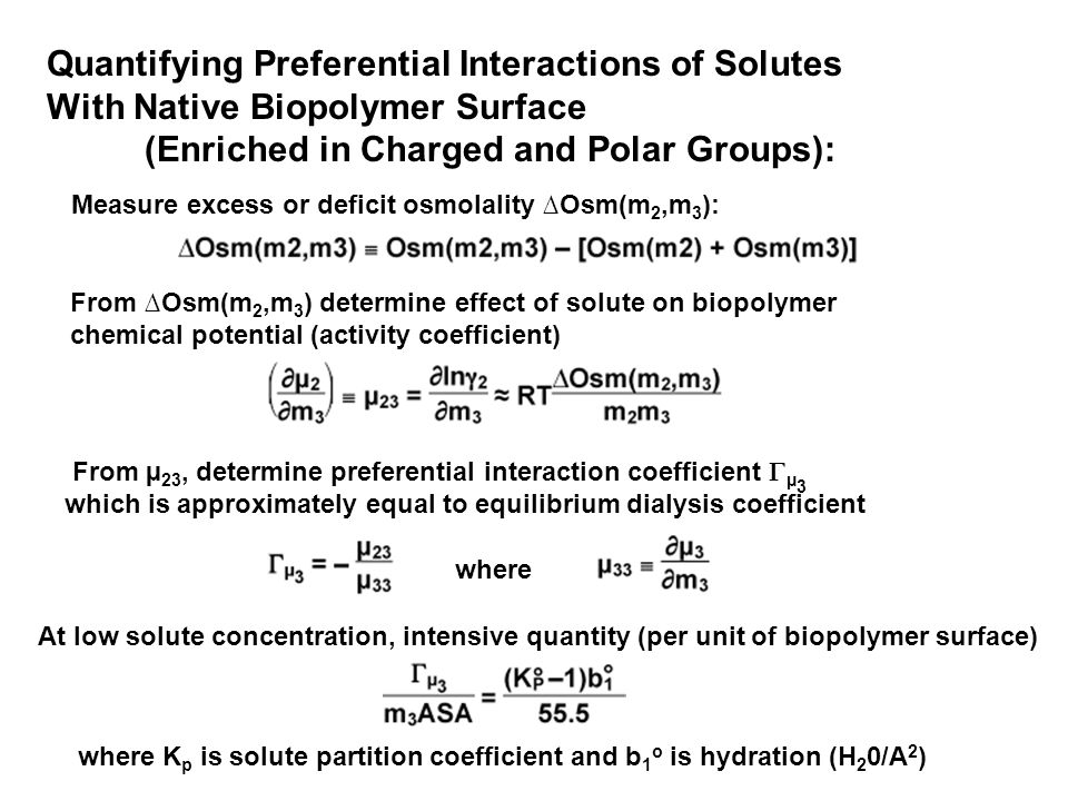 Quantifying Preferential Interactions of Solutes With Native Biopolymer Surface (Enriched in Charged and Polar Groups): Measure excess or deficit osmolality ∆Osm(m 2,m 3 ): From ∆Osm(m 2,m 3 ) determine effect of solute on biopolymer chemical potential (activity coefficient) From µ 23, determine preferential interaction coefficient  µ 3 which is approximately equal to equilibrium dialysis coefficient At low solute concentration, intensive quantity (per unit of biopolymer surface) where where K p is solute partition coefficient and b 1 o is hydration (H 2 0/A 2 )