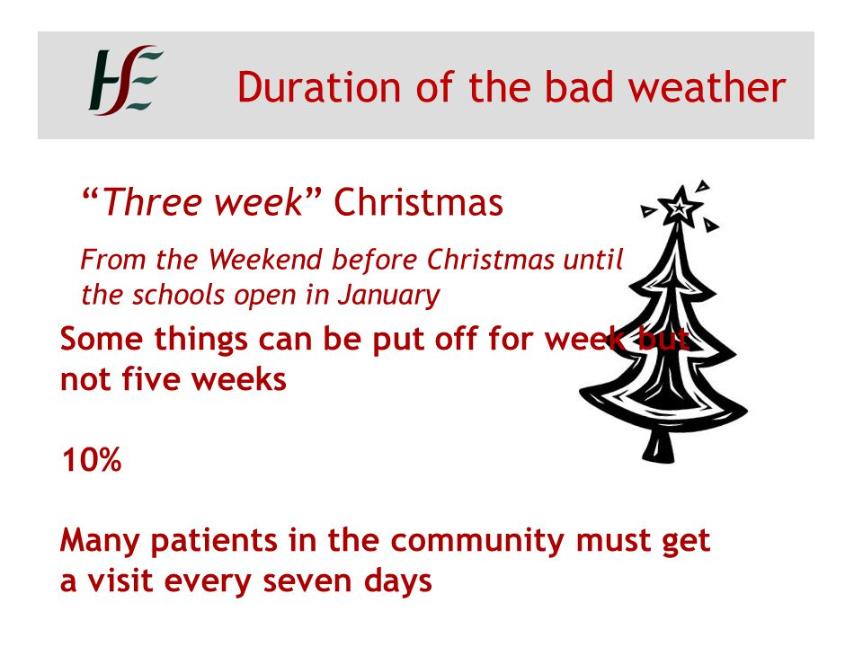 """Duration of the bad weather """"Three week"""" Christmas From the Weekend before Christmas until the schools open in January Some things can be put off for"""