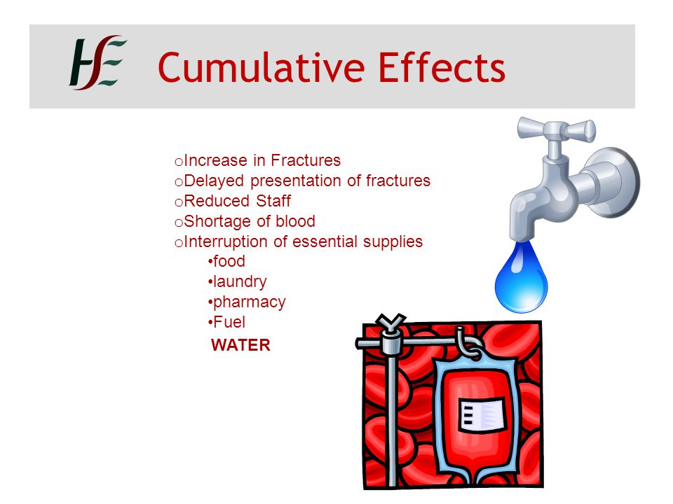 Cumulative Effects o Increase in Fractures o Delayed presentation of fractures o Reduced Staff o Shortage of blood o Interruption of essential supplie