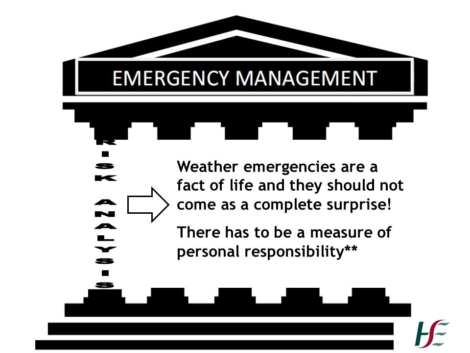 Weather emergencies are a fact of life and they should not come as a complete surprise! There has to be a measure of personal responsibility**