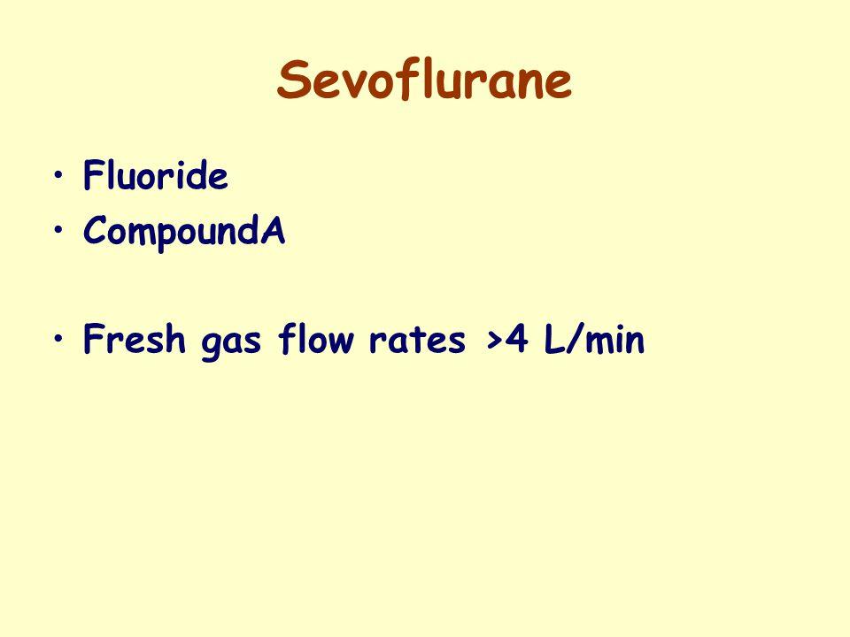 Sevoflurane Fluoride CompoundA Fresh gas flow rates >4 L/min