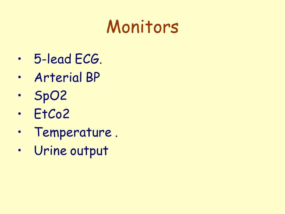 Monitors 5-lead ECG. Arterial BP SpO2 EtCo2 Temperature. Urine output