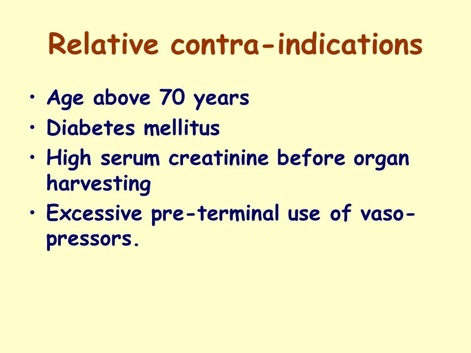 Relative contra-indications Age above 70 years Diabetes mellitus High serum creatinine before organ harvesting Excessive pre-terminal use of vaso- pressors.