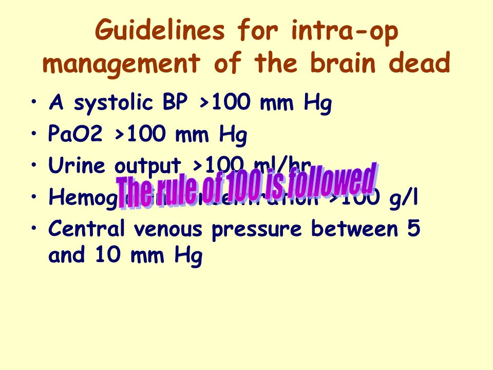 Guidelines for intra-op management of the brain dead A systolic BP >100 mm Hg PaO2 >100 mm Hg Urine output >100 ml/hr Hemoglobin concentration >100 g/l Central venous pressure between 5 and 10 mm Hg