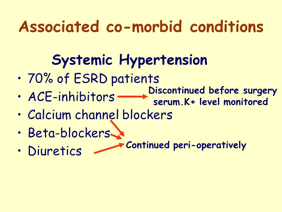 Associated co-morbid conditions Systemic Hypertension 70% of ESRD patients ACE-inhibitors Calcium channel blockers Beta-blockers Diuretics Discontinued before surgery serum.K+ level monitored Continued peri-operatively