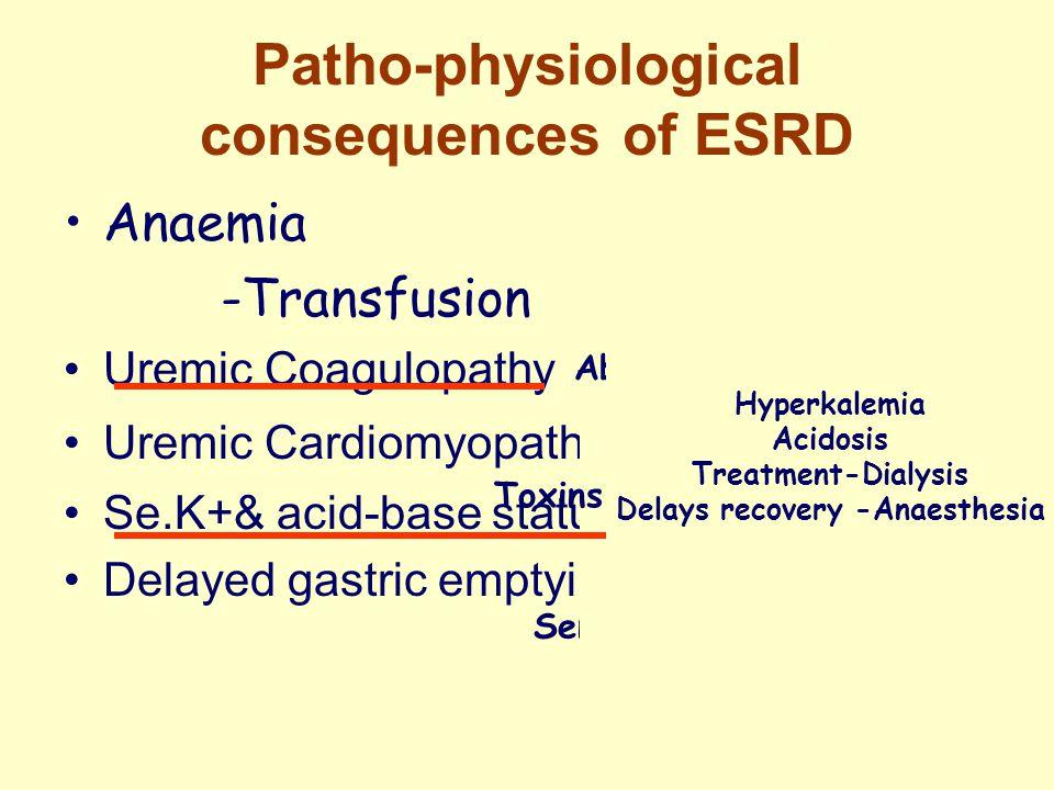 Patho-physiological consequences of ESRD Anaemia -Transfusion Uremic Coagulopathy Uremic Cardiomyopathy Se.K+& acid-base status Delayed gastric emptying Erythropoietin Normocytic normochromic anaemia Hypertension, CVA, Thrombosis of fistulas Sensitization of the recipient Abnormal platelet function Factor 8 Pre-operative dialysis Toxins l- guanidinosuccinate,phenol Phenolic acid Hyperkalemia Acidosis Treatment-Dialysis Delays recovery -Anaesthesia