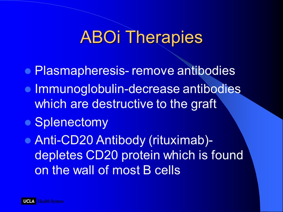 ABOi Therapies Plasmapheresis- remove antibodies Immunoglobulin-decrease antibodies which are destructive to the graft Splenectomy Anti-CD20 Antibody (rituximab)- depletes CD20 protein which is found on the wall of most B cells