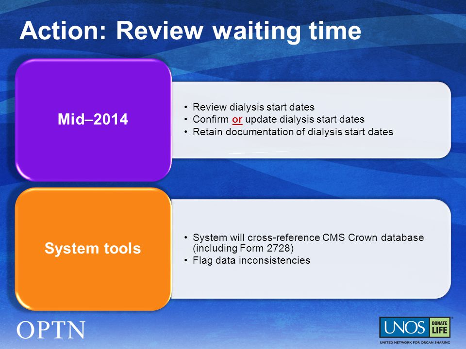 Review dialysis start dates Confirm or update dialysis start dates Retain documentation of dialysis start dates Mid–2014 System will cross-reference CMS Crown database (including Form 2728) Flag data inconsistencies System tools Action: Review waiting time