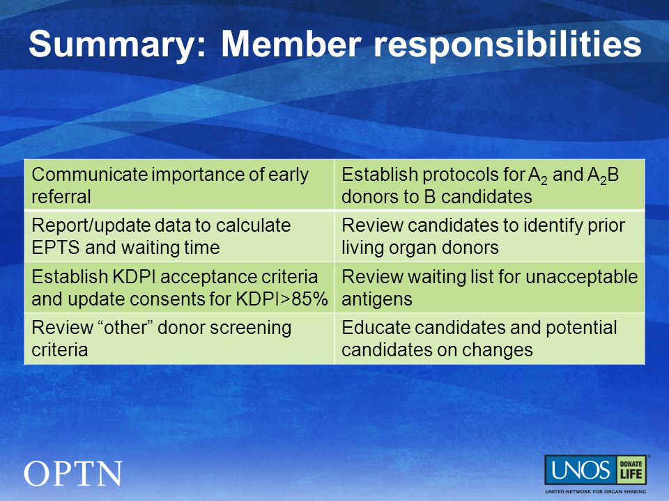 Summary: Member responsibilities Communicate importance of early referral Establish protocols for A 2 and A 2 B donors to B candidates Report/update d