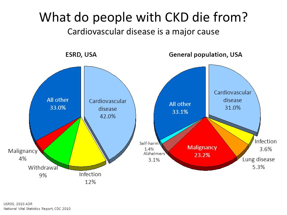 What do people with CKD die from? Cardiovascular disease is a major cause USRDS, 2010 ADR National Vital Statistics Report, CDC 2010 Cardiovascular di