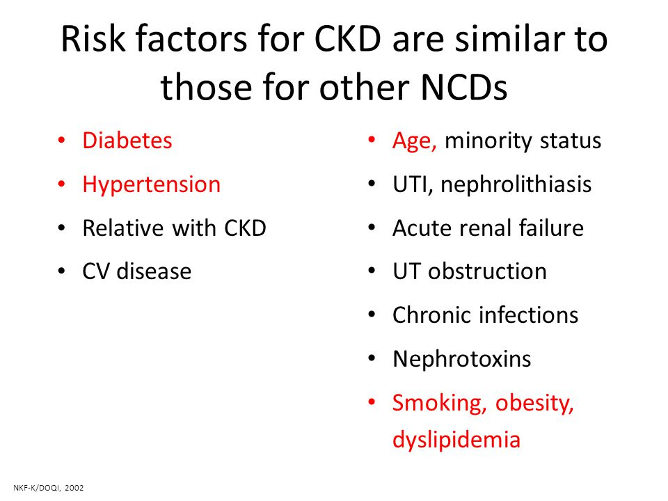 Risk factors for CKD are similar to those for other NCDs Diabetes Hypertension Relative with CKD CV disease Age, minority status UTI, nephrolithiasis