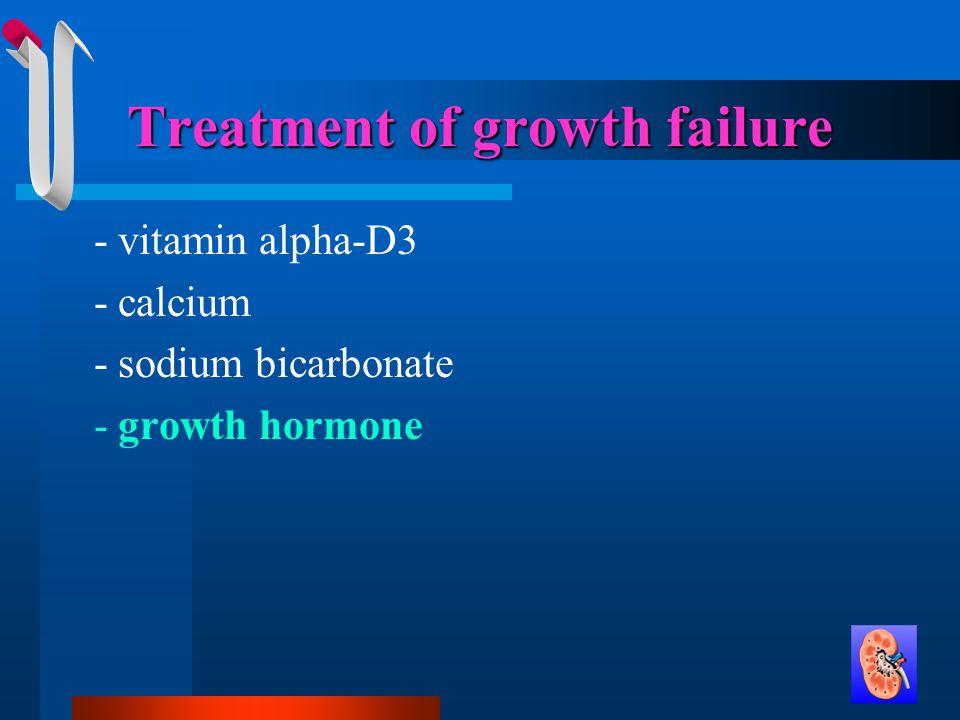 Treatment of growth failure - vitamin alpha-D3 - calcium - sodium bicarbonate - growth hormone