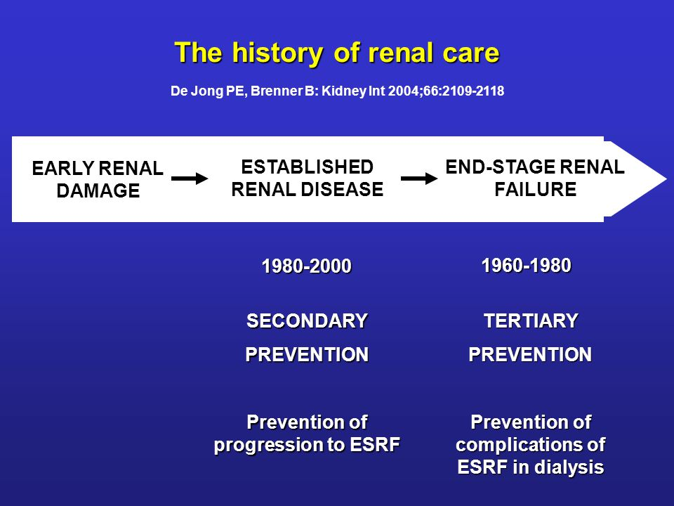 EARLY RENAL DAMAGE ESTABLISHED RENAL DISEASE END-STAGE RENAL FAILURE TERTIARYPREVENTION Prevention of complications of ESRF in dialysis SECONDARYPREVE