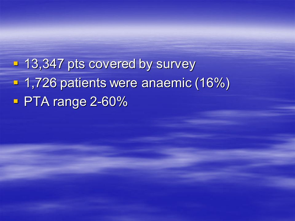  13,347 pts covered by survey  1,726 patients were anaemic (16%)  PTA range 2-60%