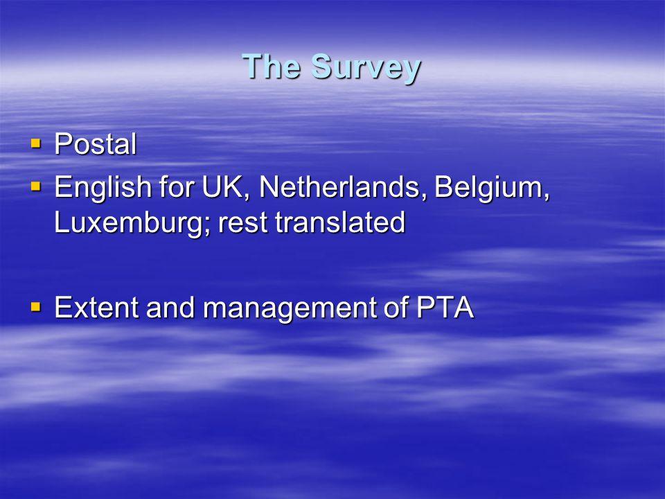 The Survey  Postal  English for UK, Netherlands, Belgium, Luxemburg; rest translated  Extent and management of PTA