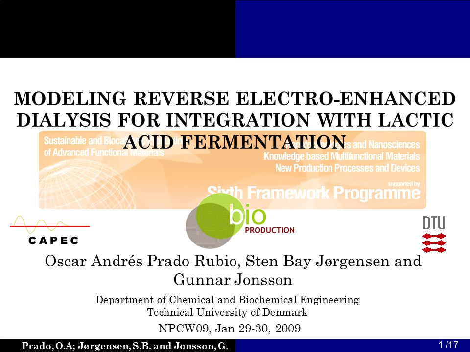 Prado, O.A; Jørgensen, S.B. and Jonsson, G. 1 /17 MODELING REVERSE ELECTRO-ENHANCED DIALYSIS FOR INTEGRATION WITH LACTIC ACID FERMENTATION Oscar André