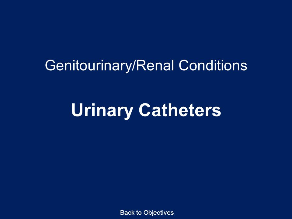 Genitourinary/Renal Conditions Urinary Catheters Back to Objectives