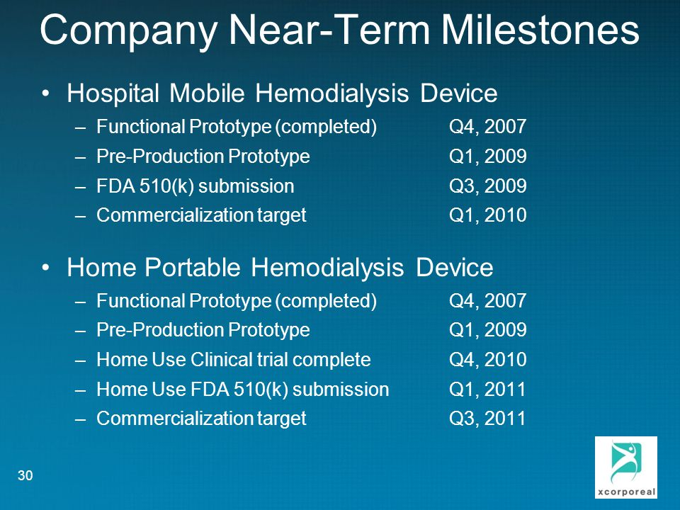 Company Near-Term Milestones Hospital Mobile Hemodialysis Device –Functional Prototype (completed)Q4, 2007 –Pre-Production PrototypeQ1, 2009 –FDA 510(k) submissionQ3, 2009 –Commercialization targetQ1, 2010 Home Portable Hemodialysis Device –Functional Prototype (completed)Q4, 2007 –Pre-Production PrototypeQ1, 2009 –Home Use Clinical trial completeQ4, 2010 –Home Use FDA 510(k) submissionQ1, 2011 –Commercialization targetQ3, 2011 30